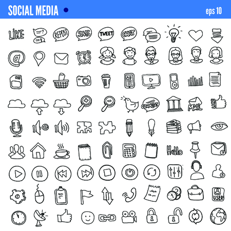 media icons: Vector Doodle Web and Social Media Icons