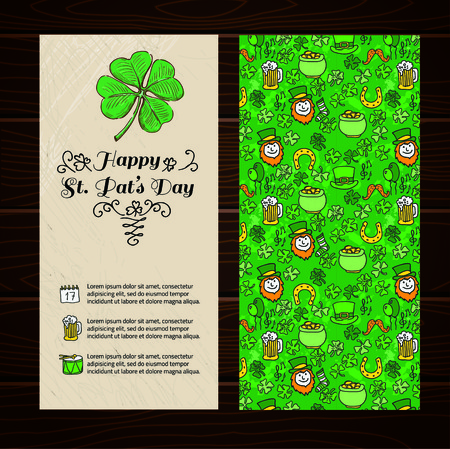 patric banner: St. Patricks day card with shamrocks and banner. vector.