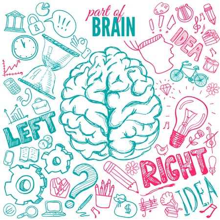 Left and right brain functions hand drawn
