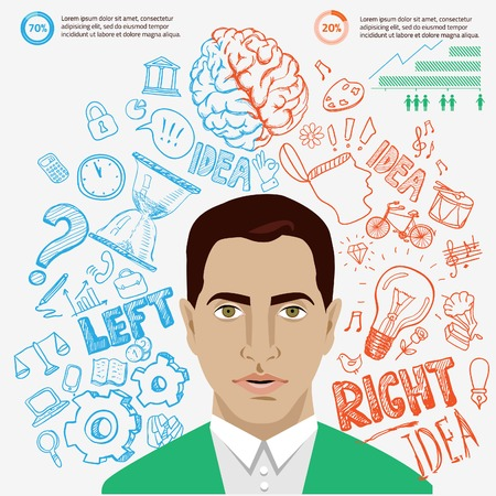 sciences: Creative brain Idea. Vector concept. Textured background. Sciences and arts. Back to school icons. Left and right brain functions.