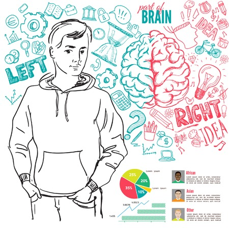 creative arts: Creative brain Idea. Vector concept. Textured background. Sciences and arts. Back to school icons. Left and right brain functions.