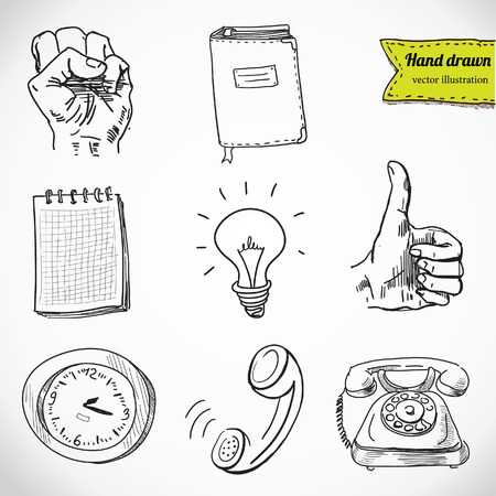 hand drawn: Business set. Hand drawn illustrations in vector