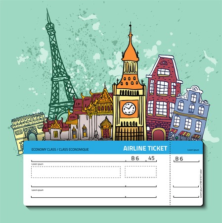 Airline ticket. Travel background.  All elements and textures are individual objects. Vector illustration scale to any size. Vectores