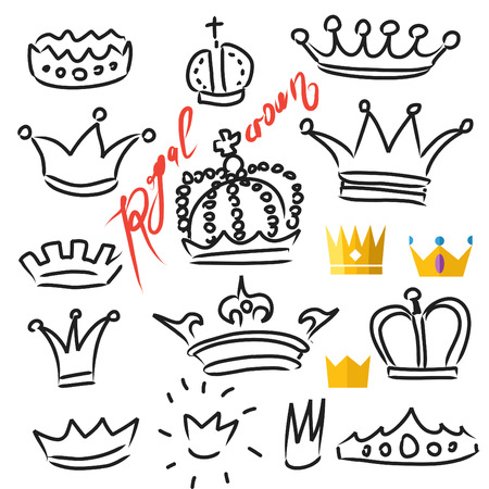 corona real: Coronas establecidos en el vector, arte e ilustración plana, dibujados a mano elementos de diseño aislados Vectores
