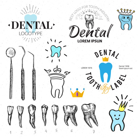 whitening: Dental labels and icons set. Vector Illustration