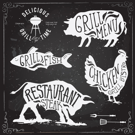 grilled fish: Illustration Grill Menu Labels Set of in Flat Design Style.