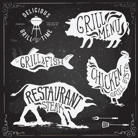 chorizos asados: Ilustración etiquetas Grill menú fijo de en Flat estilo del diseño.