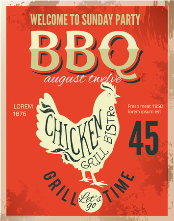 chiken: Vintage metal sign - Dads BBQ - Vector EPS10. Grunge effects can be easily removed.