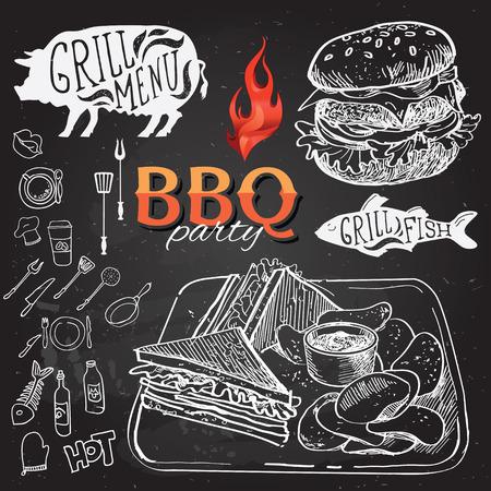 steak grill: Barbecue party invitation. BBQ brochure menu design.
