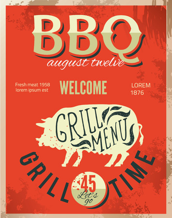 barbecue ribs: Vintage metal sign - Dads BBQ  Illustration