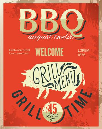 pork rib: Vintage metal sign - Dads BBQ  Illustration