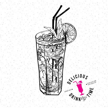 limon caricatura: Dibujado a mano ilustración vectorial de mojito cóctel