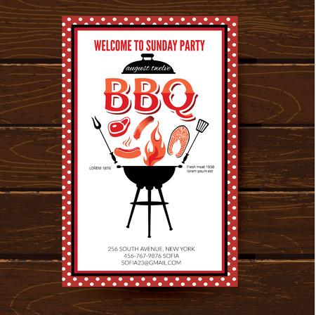 barbecue grill: Barbecue party invitation. BBQ brochure menu design.