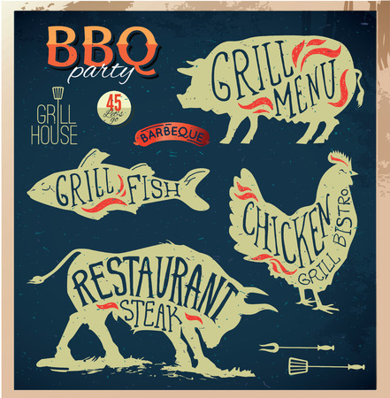 fried: Illustration Grill Menu Labels Set of in Flat Design Style.