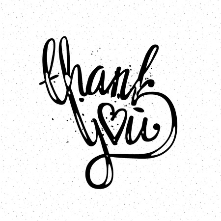 love you: thank you hand lettering - handmade calligraphy vector illustration
