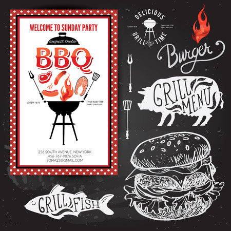bbq: Barbecue party invitation. BBQ brochure menu design.