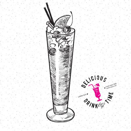 sling: The Singapore Sling cocktail isolated on white background Illustration