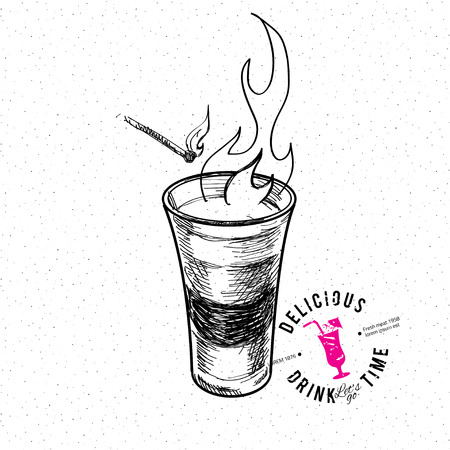 Shot glass with fire. Hand drawn illustration Ilustração