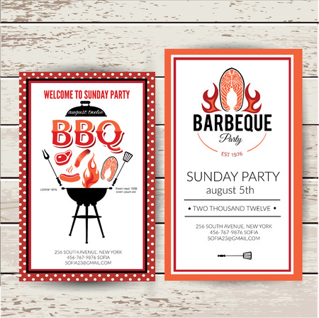 outdoor dining: Barbecue party invitation set. BBQ brochure menu design. Illustration