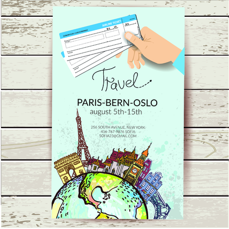 bigben: Airline ticket. Travel background.  All elements and textures are individual objects. Illustration
