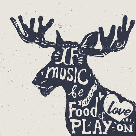 Belettering over muziek, vintage vector illustratie: Als de muziek het voedsel van de liefde, spelen op