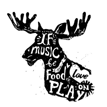 Lettering about music, vintage vector illustration: If music be the food of love, play on. Vectores