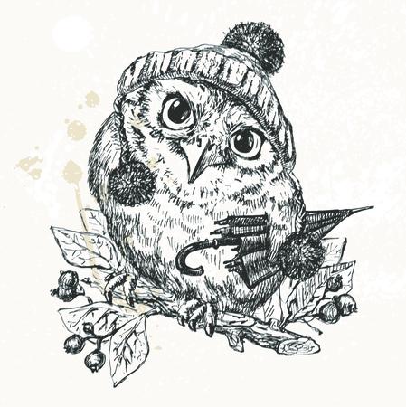 Vector Illustration of Polar Owl, Merry Christmas Card