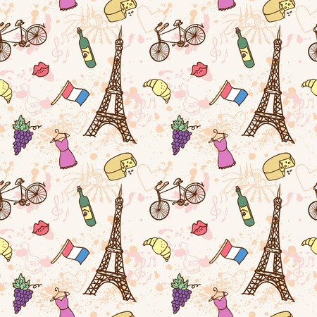 shopping champagne: Symbols of France as funky doodles vector illustration hand drawn