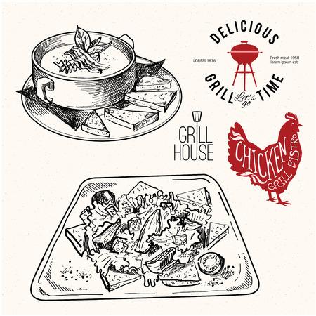 ensalada: comida dibujado a mano conjunto con la etiqueta para grill bar