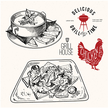 soup: hand drawn  food set with label for grill bar