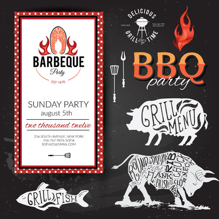 party animals: Barbecue party invitation. BBQ brochure menu design eps10