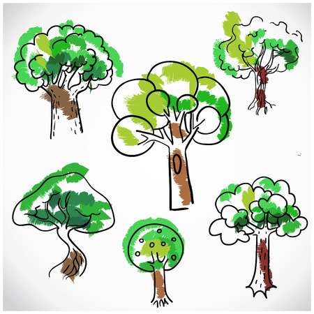 illustration isolated: Sketchy tree set isolated, vector illustration hand drawn.