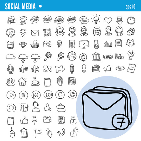 cloud technology: Vector Doodle Web and Social Media Icons