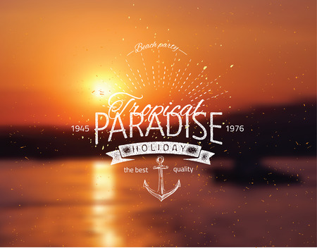 orange sunset: Vector blurred background with sea landscape eps10