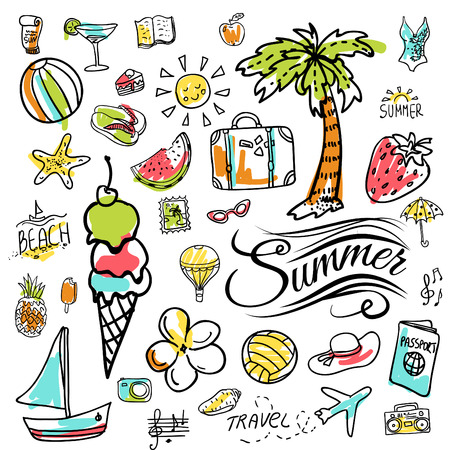 item: Set of  vector doodle colorful summer icons