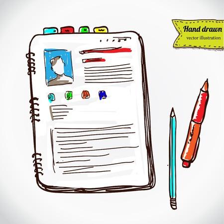 papel de notas: Libros con pluma y lápiz. establece material de oficina. dibujo a mano ilustración de dibujo vectorial