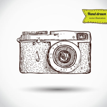 zoom: Vector illustration of camera hand draw on vintage paper background, cute label Illustration