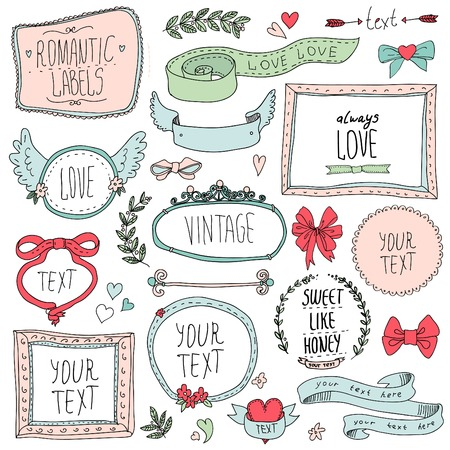 victorian house: vintage labels set, vector  illustration eps 10