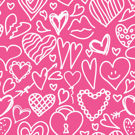 red swirl: Vector seamless pattern hand drawn, doodle hearts in red, swirl design elements Illustration