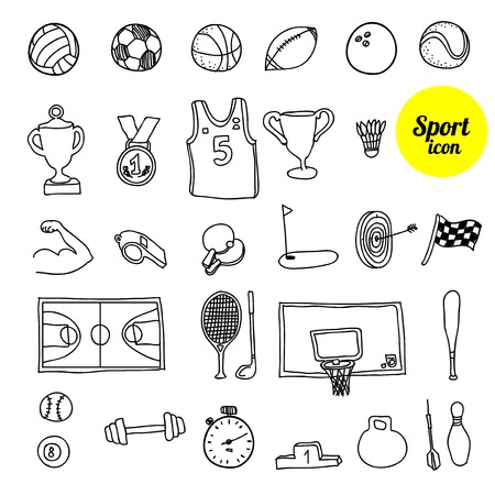 sports icon: Doodle sports icon. Hand drawn vector illustration. Stock Photo