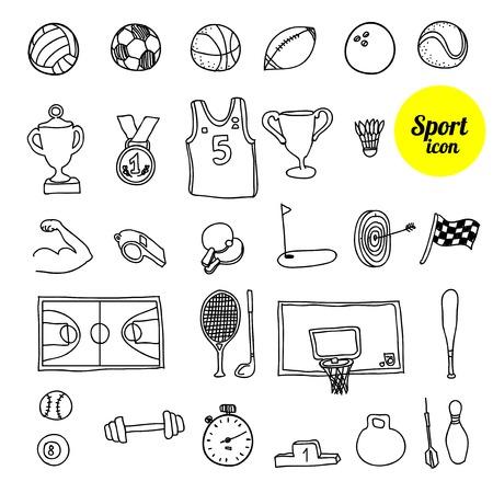 icono deportes: icono de los deportes del Doodle. Dibujado a mano ilustración vectorial.