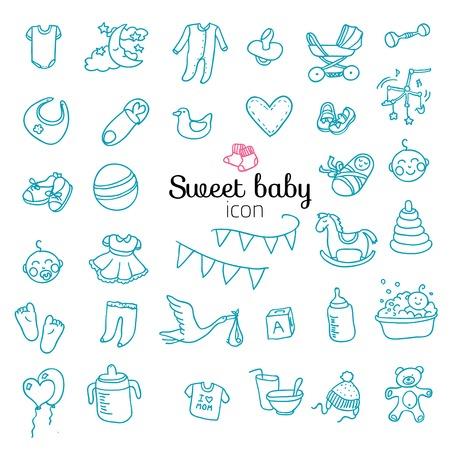 Spotless series | Hand drawn Baby,Toy icon set.