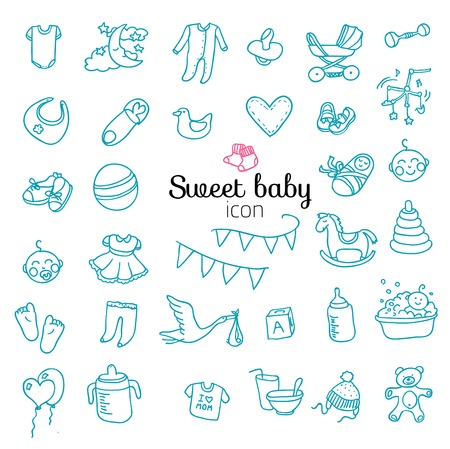 Spotless series | Hand drawn Baby,Toy icon set.