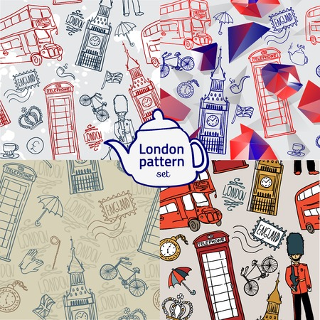 영어 배경, 낙서 아이콘 런던 원활한 패턴 스톡 콘텐츠 - 44036223