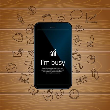 segurar: Mão que prende o telefone móvel com ícones. Conceito de comunicação na rede. Arquivo armazenado em EPS versão AI10. Esta imagem contém transparência.