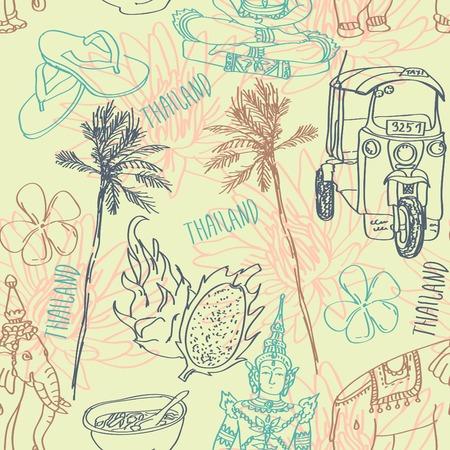 animal print: Ilustración del vector conjunto de Bangkok, el elefante y el loto aisladas sobre fondo blanco Vectores