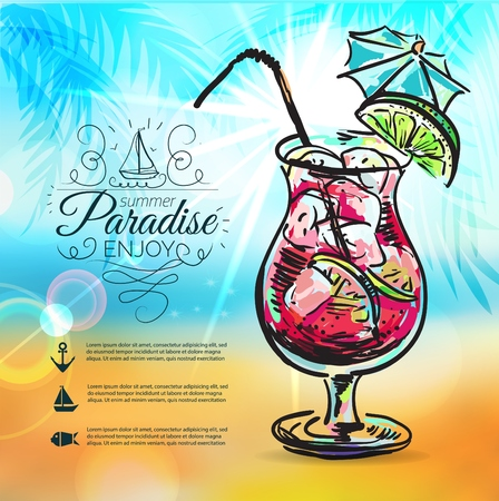 paradise beach: Summer background with sea, sun, ship and Summer holidays elements: cocktail, swim mask, sunglasses, flip flops and palm tree leafs Illustration