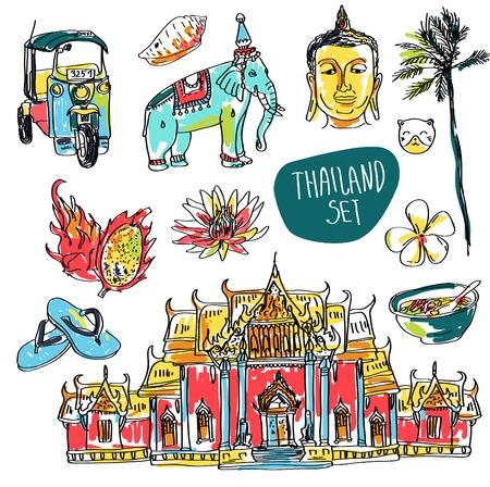 방콕, 코끼리와 연꽃의 벡터 집합의 그림 흰색 배경에 고립 일러스트
