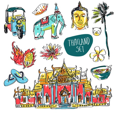 thailand symbol: Illustration of vector set of Bangkok, elephant and lotus isolated on white background
