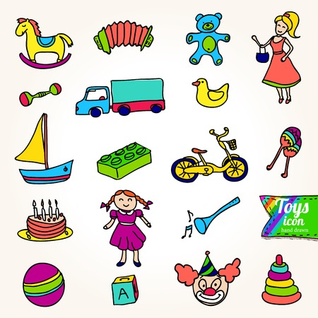 barbie: A variety of childrens toys vector illustration hand drawn Illustration